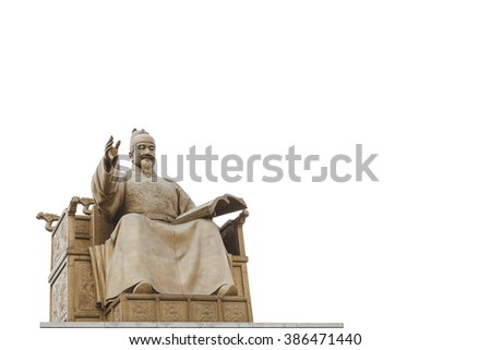 Statue of Sejong the great, King of South Korea viewed from the side with white background