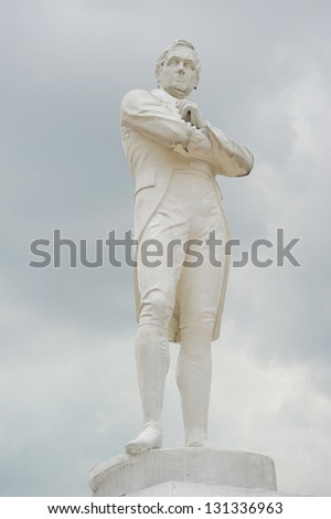 "Statue of Sir Tomas Stamford Raffles - best known for his founding of the city of Singapore. He is often described as the ""Father of Singapore""."