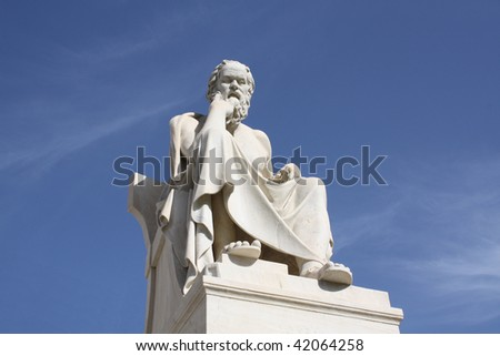 Statue of Socrates in Athens, Greece. - stock photo
