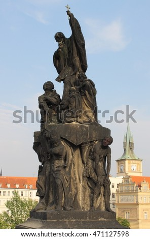 Statue of St. Francis Xaverius in Charles bridge, Prague