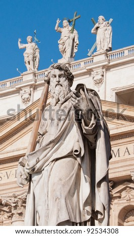 Statue of St. Paul at St. Peter's Basilica, Vatican - stock photo