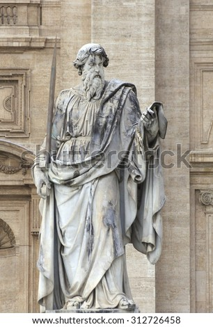 Statue of St. Paul in St. Peters Square (Rome, Italy)