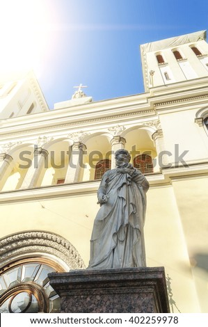 Statue of St. Peter at the entrance of the Lutheran Church of Saints Peter and Paul founded in 1838 in St. Petersburg, Russia - stock photo
