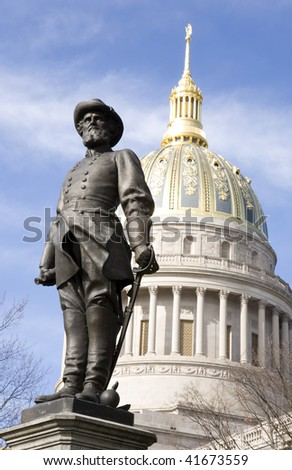 Statue of Stonewall Jackson sits on the grounds of the state capital in Charleston West Virginia