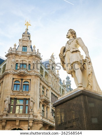 Statue of the famous 17th century painter Anthony Van Dyck on the Meir, the main shopping street of Antwerp, Belgium. - stock photo
