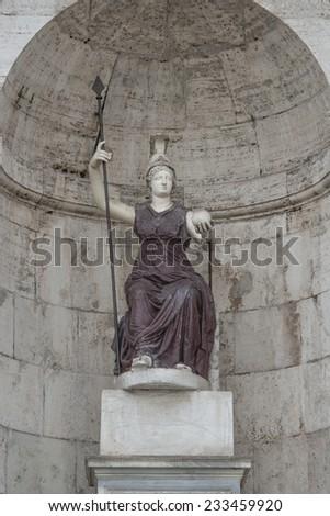 Statue of the goddess Dea Roma, the Goddess of Rome at Piazza del Campidoglio, Rome, Italy, 2014 - stock photo