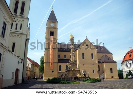 Statue of the Holy Trinity and the cathedral, Veszprem, Hungary