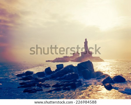Statue of the poet Thiruvalluvar, author of the Thirukkural.Kanyakumari,  India.  - stock photo