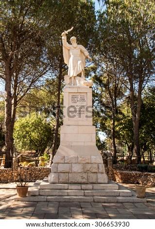 statue of the prophet Elijah on Mount Caramel, Israel - stock photo