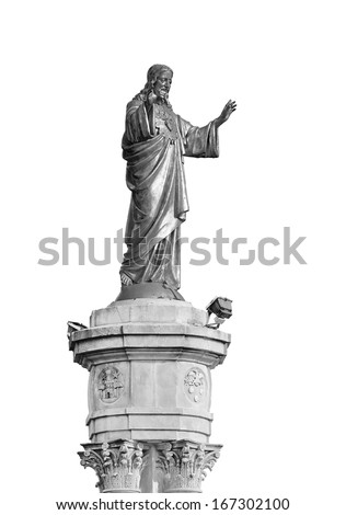 statue of the Sacred Heart on the square in front of the Basilica of Our Lady of the Rosary in Fatima (Portugal) isolated - over white (black and white) - stock photo