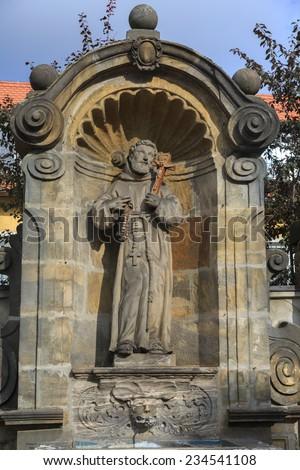 Statue of the saint near Kloster Michelsberg (Michaelsberg) in Bamberg, Germany  - stock photo