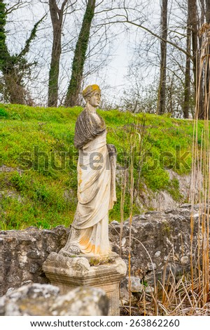 Statue of the Sanctuary of Zeus Hypsistos, Dion Archeological Site in Greece - stock photo
