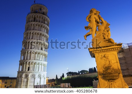 Statue of Three Angels near Leaning Tower of Pisa in Italy - stock photo