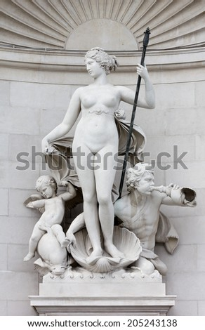 Statue of Venus on the Facade of the Lloyd Palace in Trieste, Italy - stock photo