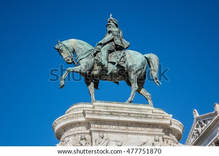 Statue of Victor Emmanuel II - Father of the Nation. National Monument to Victor Emmanuel II (Altare della Patria) built in honour of Victor Emmanuel - first king of a unified Italy. Rome.