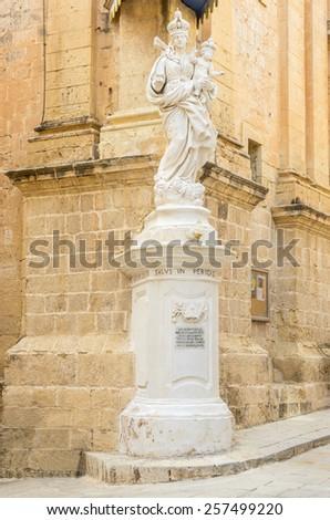 Statue of Virgin Mary in Mdina Malta - stock photo