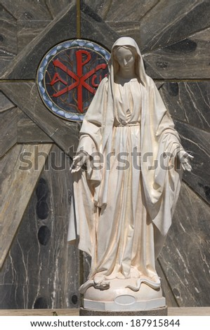 Statue of Virgin Mary Nathareth, Israel  - stock photo