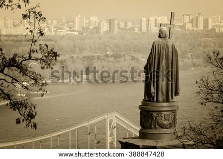 Statue of Vladimir The Great in Kiev, Ukraine - stock photo