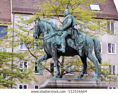 Statue of William I of Germany in Nuremberg. Germany. Europe.