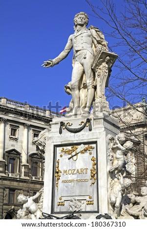 Statue of Wolfgang Amadeus Mozart in Vienna, Austria - stock photo