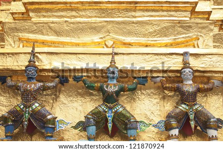 Statue of Yaksha and Hanuman at Temple of the Emerald Buddha in Bangkok, Thailand