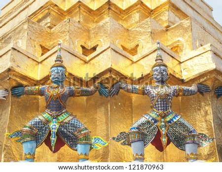 Statue of Yaksha at Temple of the Emerald Buddha in Bangkok, Thailand