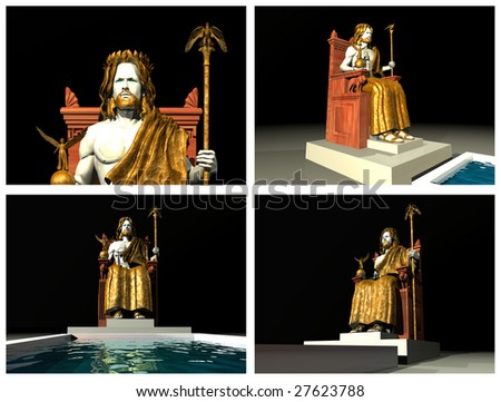 Statue of Zeus at Olympia. 3D reconstructions - stock photo