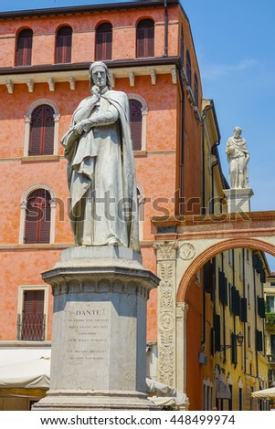 Statue on piazza dei signori in the city of Verona Italy
