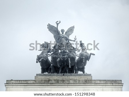 Statue on the Cromwell Memorial in London, UK - stock photo
