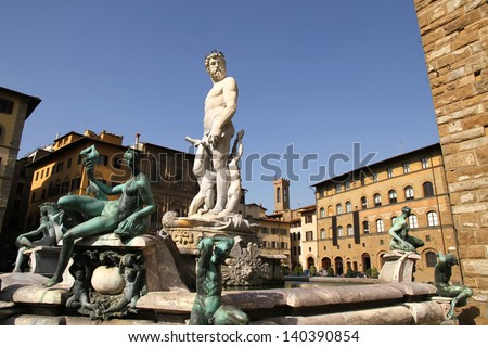 Statue on the Fountain of Neptune on the Piazza della Signoria in Florence, Italy, Europe. - stock photo
