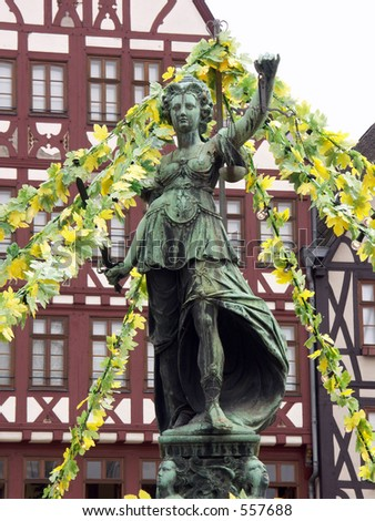 Statue on the main square in Frankfurt, Germany