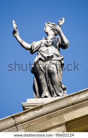 Statue on the top of Oxford University's Clarendon Building depicting the muse of Drama.