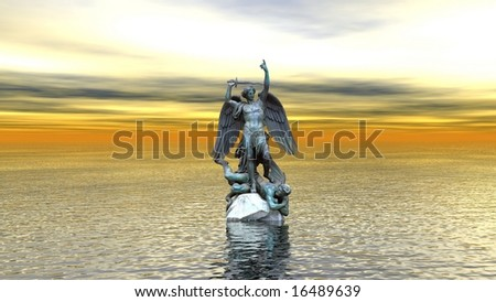 statue on water