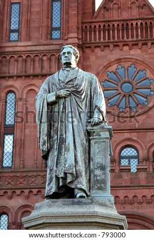 Statue outside of the Smithsonian Castle on The Mall. - stock photo