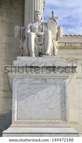 Statue outside US Supreme Court, Washington DC - stock photo