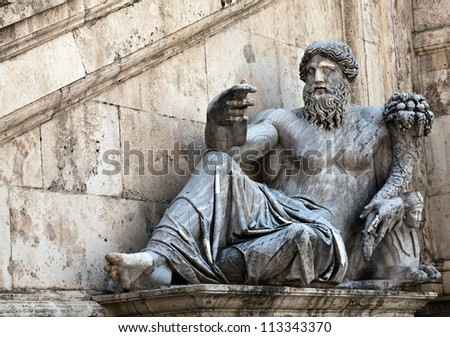 Statue representing the Nile River, located on the steps of the Palazzo Senatorio that was built on top of one of the Seven Hills of Rome during the 13th and 14th centuries. - stock photo