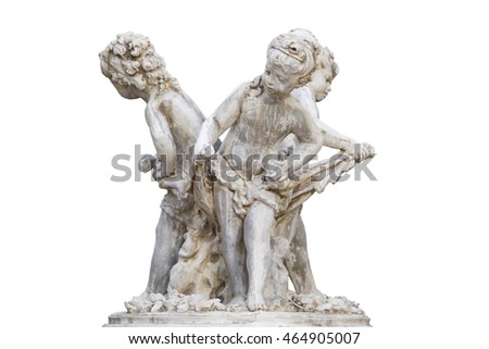 Statue Sculpture in public garden Isolated on white background