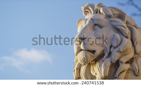 Statue stone head of a Lion - stock photo