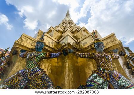 Statue the giant at Wat Phra Kaew in Bangkok, Thailand - stock photo