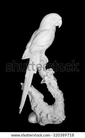 statue white Macaw (Parrot) isolated on black
