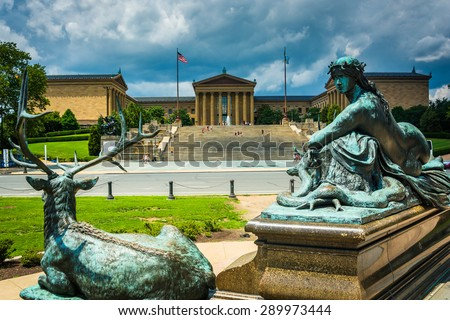 Statues at Eakins Oval and the Museum of Art in Philadelphia, Pennsylvania. - stock photo