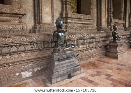 Statues at Haw Pha Kaew temple in Vientiane, Laos