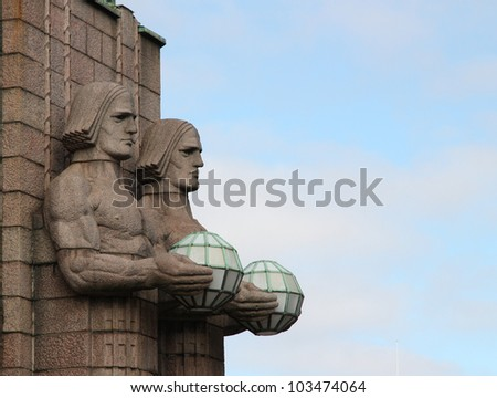 Statues at the railway station in Helsinki. Finland. - stock photo