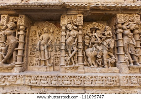 Statues at the Rani Ki Vav Step Well in Patan, Gujarat, India.