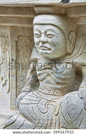 Statues carved in stone located in Seven Star Park in Guilin China - stock photo