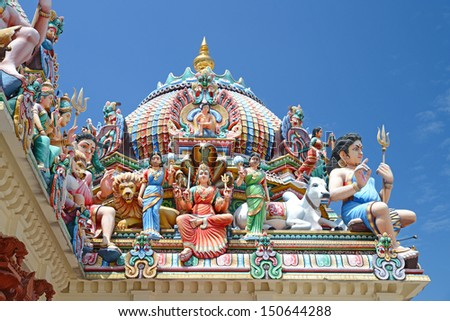 Statues Decoration Of A Hindu Temple - stock photo