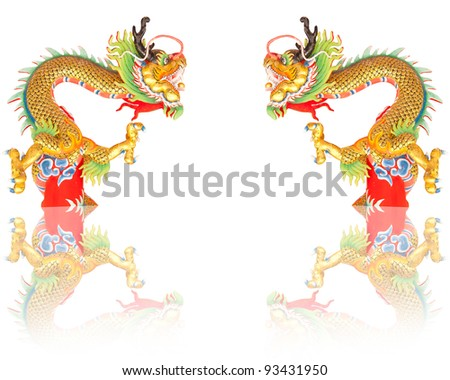 Statues, gold dragon on a white background. - stock photo