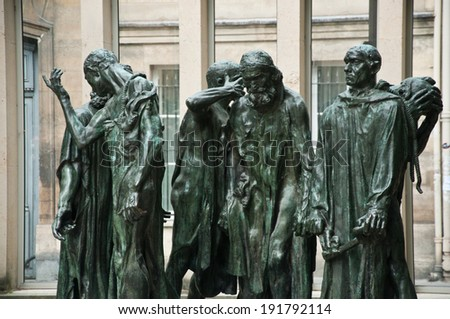 Statues in Rodin museum park in Paris - stock photo