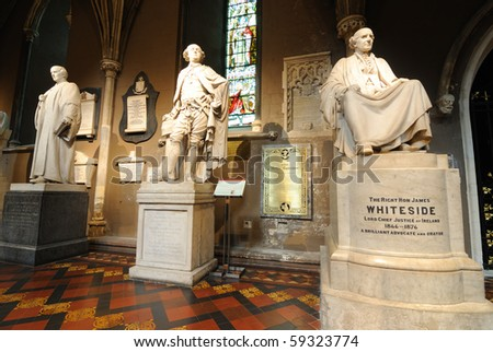 Statues in St. Patrick's Cathedral in Dublin, Ireland. - stock photo