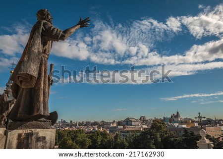 Statues of Almudena Cathedral Dome in Madrid Spain